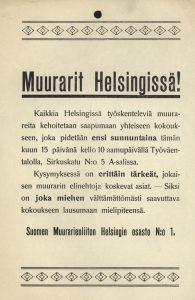 1910 luku . Muurarit Helsingissä