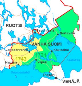 Ruotsi menetti 1700-luvun sodissa Itä-Suomen Venäjälle