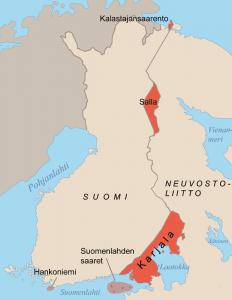 Suomen rajat vuoden 1940 jälkeen.