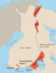 Suomen rajat vuonna 1944.