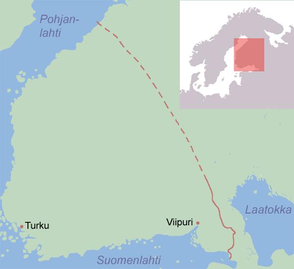 Ruotsin itäraja vuonna 1323.